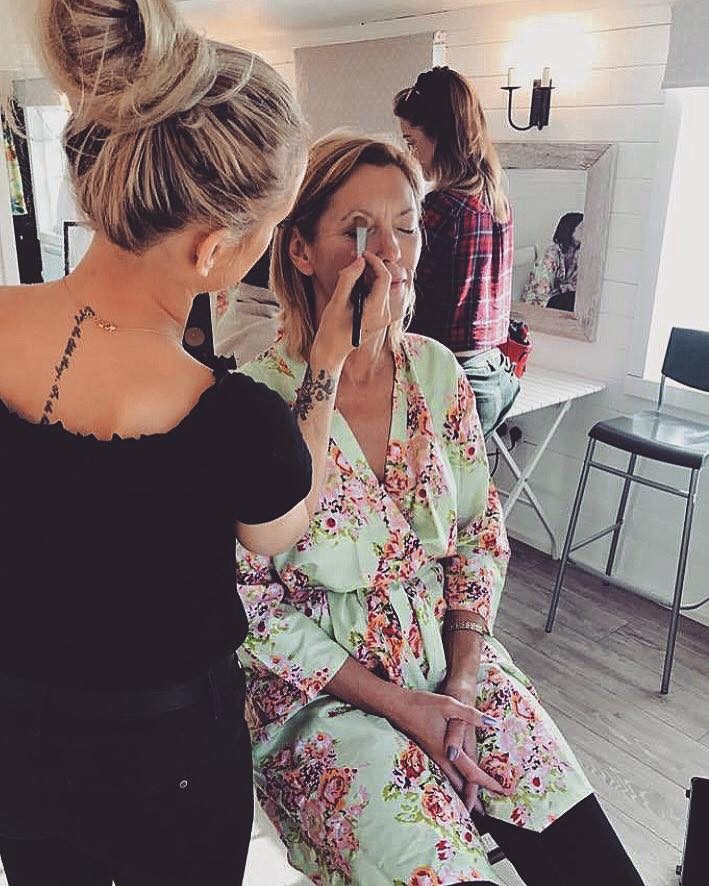 Makeup application mother of the bride